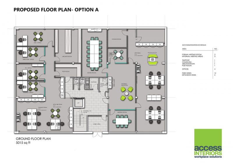 Office design planning access interiors of east anglia for Office interior design layout plan